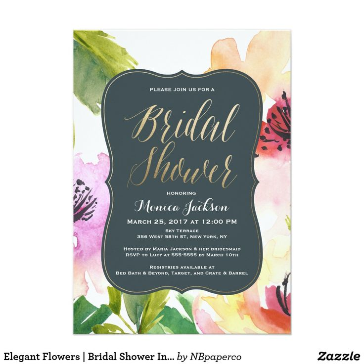 Elegant Flowers Bridal Shower Invitation 275