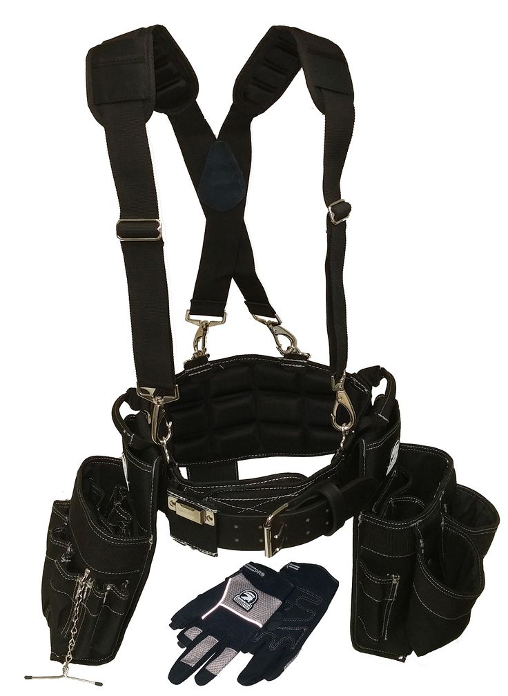 Contractor Pro Electricians Combo Deluxe Package (Tool Belt, Suspenders, Gloves, Bucket Tote) Great Durable Belt with Ventilated Back Support with Suspenders and Extras for Any Job for Electricians, Carpenters, Drywaller, Hvac. (Large)