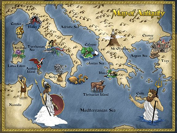 Map of Homer's Odyssey