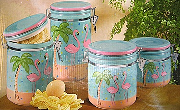 Canisters Outdoor Tables And Flamingos On Pinterest