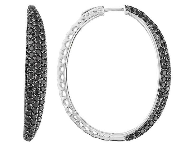 6.86ctw Round Black Spinel Sterling Silver Hoop Earrings