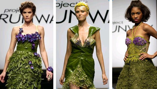 Project runway ideas for going green: Projects, Nature, Clothes, Project Runway Garden Party, Gardens, Garden Parties, Green Fashion, Eco Fashion