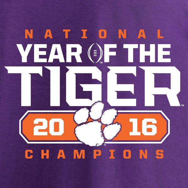 Clemson Tigers Fanatics Branded College Football Playoff 2016 National Champions Play Action T-Shirt - Heather Purple - Fanatics.com
