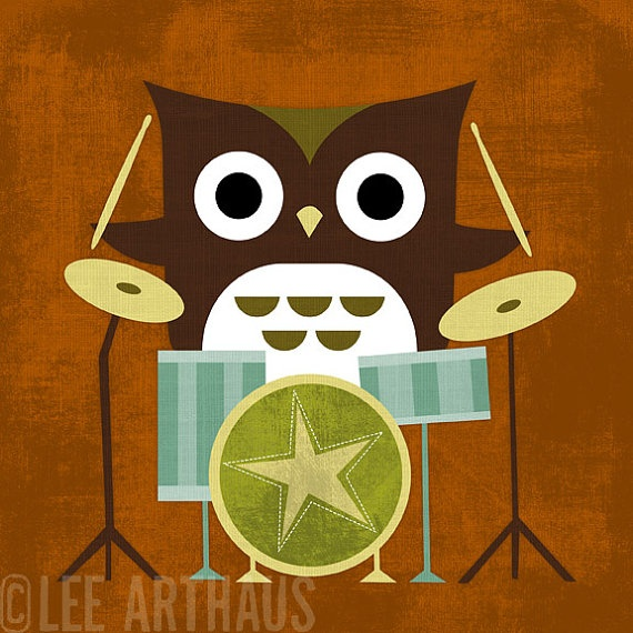40R Retro Owl with Drums 6 x 6 Print by leearthaus on Etsy, $15.00