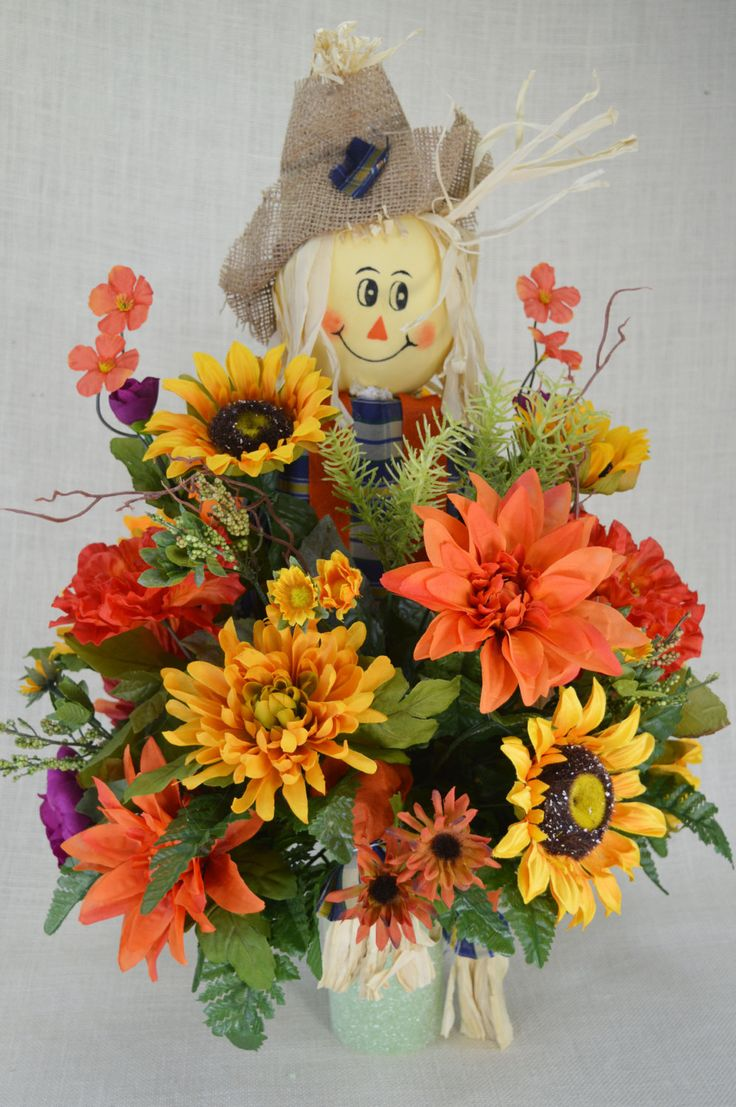 No.FC015 Sun Flower Fall Cemetery Arrangement. , Autumn Cone Flower, Cone Arrangement,Grave,   Tombstone arrangement,  Cemetery flowers by AFlowerAndMore on Etsy