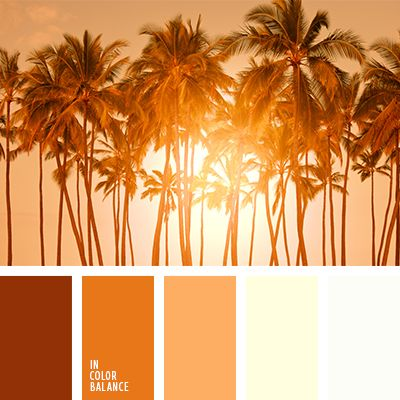 Shades from brown-orange to beige create a row of related hues, creating an atmosphere of warmth and tranquility. Orange color awakens, energizes. This color range will ideally suit the interior in oriental style, will look good in the light summer wardrobe.