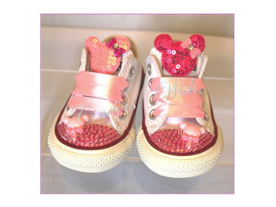 Minnie mouse Converse / bling converse/ girl by CindersWish