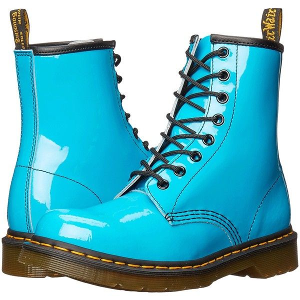 Dr. Martens 1460 W (Sunny Blue Patent Lamper) Women's Lace-up Boots ($100) ❤ liked on Polyvore featuring shoes, boots, blue, mid-calf boots, blossom boots, lace up boots, victorian lace up boots, blue shoes and patent boots