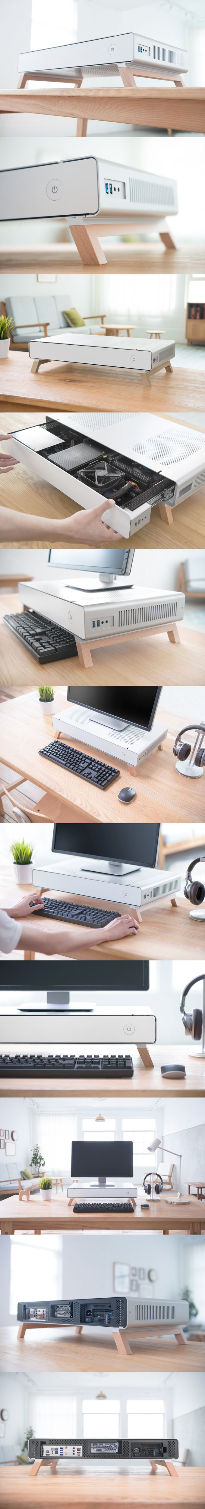 A Monitor Stand PC case, capable of housing a full ITX-PC. Designed by CRYORIG, built by Lian Li.
