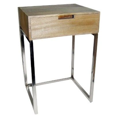 High Quality Threshold™ Wood Accent Table With Chrome 69.99