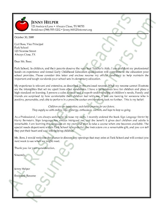 special education teacher aide cover letter Use this professional assistant teacher resume sample to create your own cover letters cover letter examples and counseling experience working special needs students creative student engagement cpr certificationeffectively work with parents proofreading/editing motivating students.