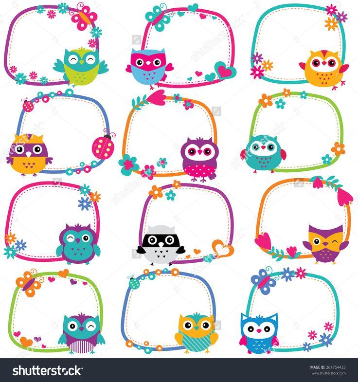 cute owl frames clip art set