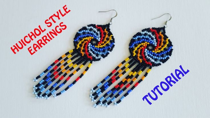 BEADING KIT Video Seed beads PDF Tutorial Master class on beading necklace Huichol flower \u00abSunset\u00bb