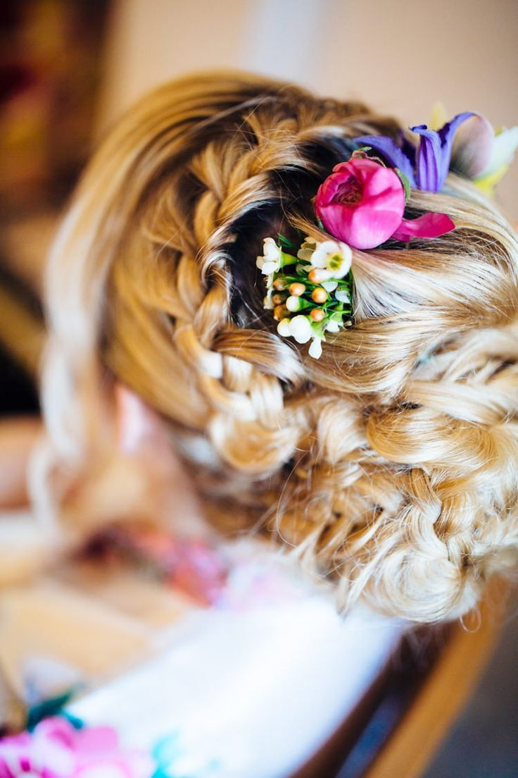 Bride Bridal Hair Style Plaits Braids Flowers Wax Spring Quirky Colourful Relaxed Fun Barn Wedding http://www.lushimaging.com/
