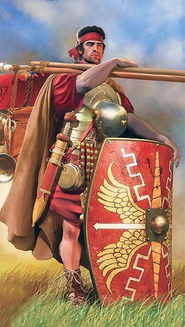 Legionario romano durante l'affardellamento. Questo carico così pesante fu introdotto da Mario nel 107 a.C. e per questo i legionari venivano chiamati anche muli di Mario