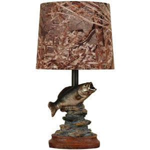 Mossy Oak Fish Accent Lamp, Dark Woodtone Sans the ugly lampshade, this would be perfect on his nightstand/dresser! Good idea for Christmas....hm.