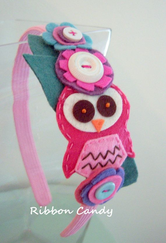 Felt Owl Headband with Felt Flowers  by ribboncandyhairbows, $13.95