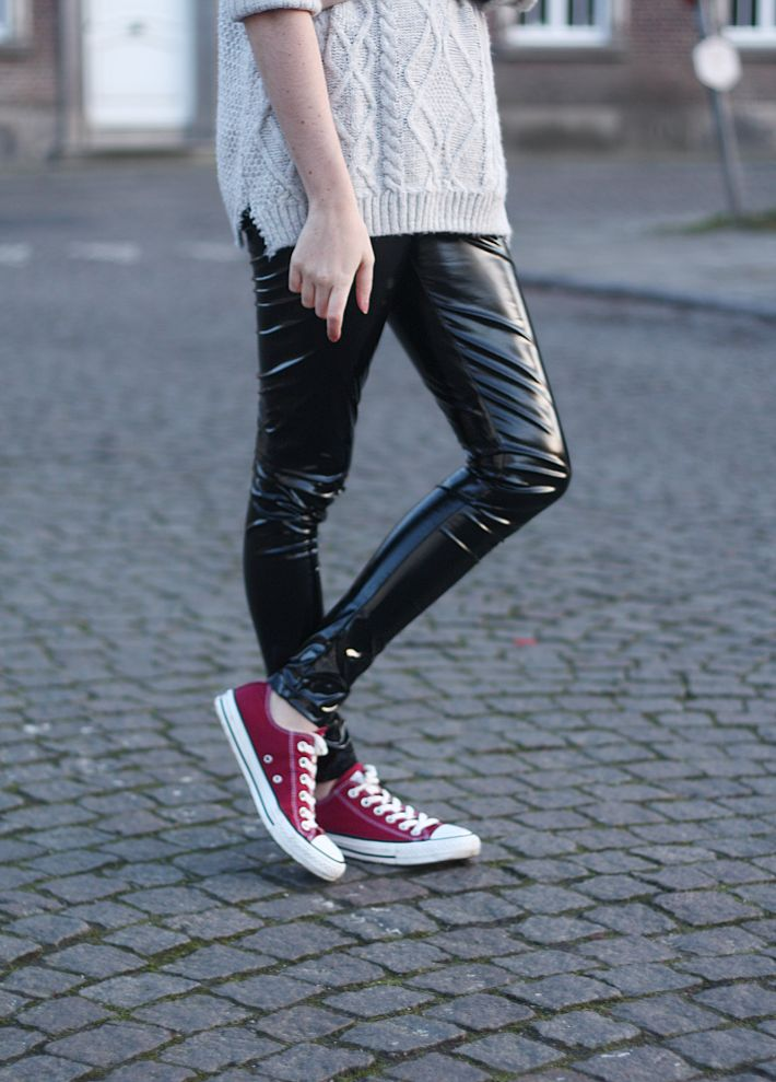 PVC leggings: ASOS - roll neck knit sweater: New Look - sneakers: Converse I told you I was crushing hard on these PVC AS...