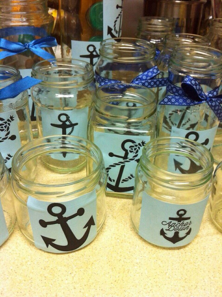 Recycle old jars and stick on printed anchors on blue paper and wrap a ribbon around it for some Nautical Decors. They can be used as tealight candle holders or candy or crisp holders for party table centrepieces! ⚓️⚓️⚓️