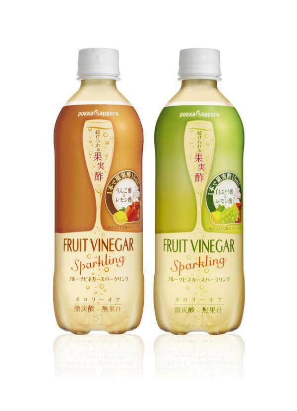 続けられる果実酢 フルーツビネガー スパークリング りんご酢とレモン酢の爽やかな味わいと 微炭酸の新しいドリンクです。 その新しさをおしゃれなデザインで表現しています。