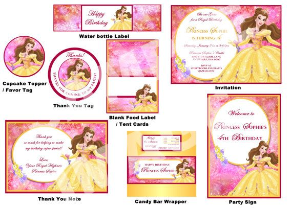 Disney Belle Party Package - Beauty and the Beast Party Package - Birthday Party Printable on Etsy, $25.00