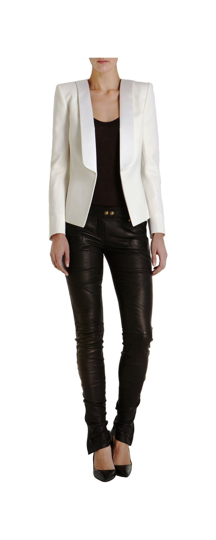 leather leggings / white blazer