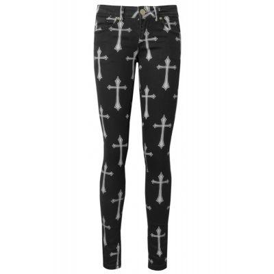 Svarta jeans med vitt korsmönster