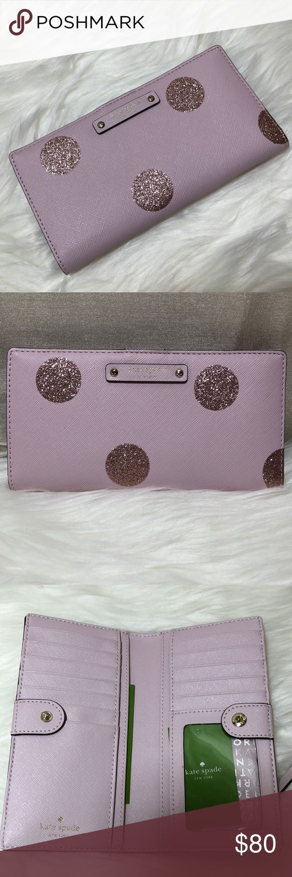 "🎉SALE🎉 Kate spade haven lane glitter wallet Trendy must have for the spring and summer!  🌷 New with tags 💯% Authentic ❌No trade PRICE FIRM   SIZE  7"" x 3.5""  DETAILS  Saffiano textured pvc Magnetic snap closure  Zipper pocket Card slots Interior slide pockets kate spade Bags Wallets"