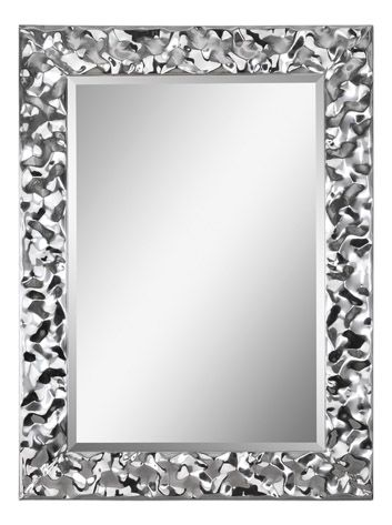 The crinkle chrome border of the Couture mirror creates a posh finish and a brilliant touch to any room.