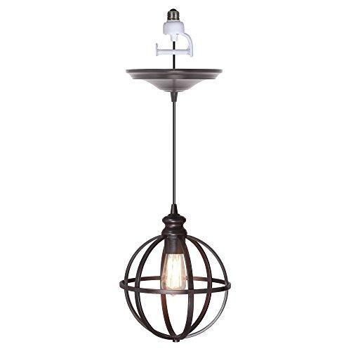 Worth Home Products Instant Pendant Light with Cage  Give your setting a little artistic allure with the Worth Home Products Instant #PendantLight with Cage - 8 diam. in. Brushed Bronze. This pendant features a globe shade made with individual bars in a brushed bronze finish. Its open-air design showcases the illumination from the bulb, adding to its contemporary appeal. Easy to install, you can use this #pendant to add a dramatic look to any table setting, bar, or counter.