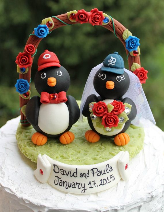 Penguin wedding cake topper with flower arc and by PerlillaPets