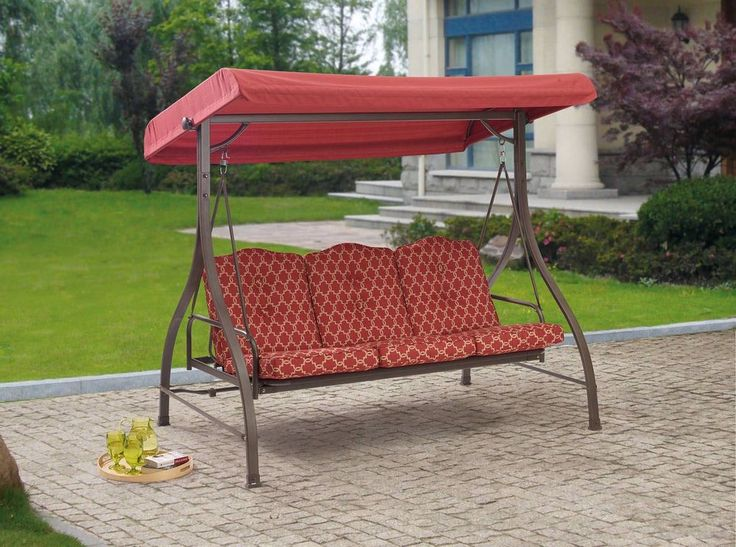 Patio Furniture Swing 3 Person Cushion Outdoor Canopy Hammock Bed Porch