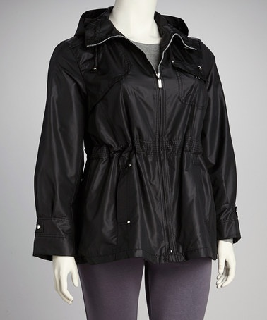 Take a look at this Black Hooded Plus-Size Raincoat by INTL d.e.t.a.i.l.s. on #zulily today!