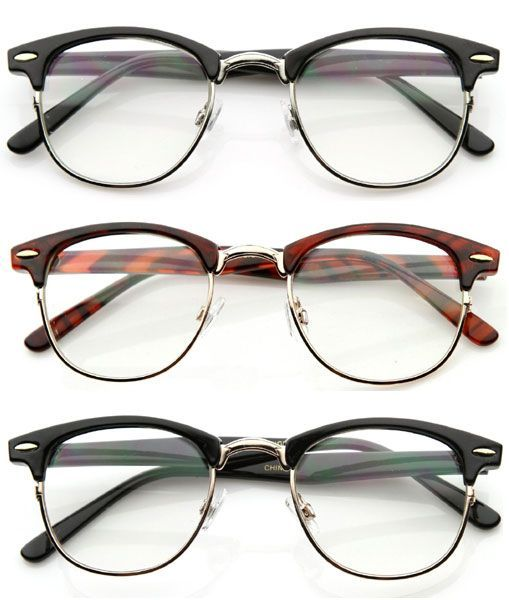 ray ban style glasses frames  details about 80' s vintage clubsman horned rim half frame clear poly carbon lens glasses