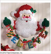Bucilla ® Seasonal - Felt - Home Decor - Believe in Santa Wall Hanging. Each kit contains felt, beads, sequins, embroidery floss, needle and easy-to-follow instructions. #crafts #felt #bucilla