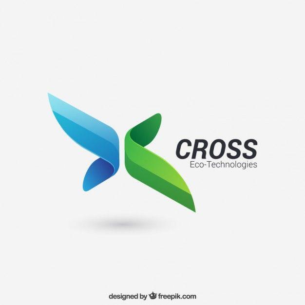 Logo de cruz abstracta Vector Premium