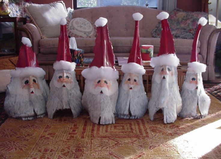 Santas made from palm fronds