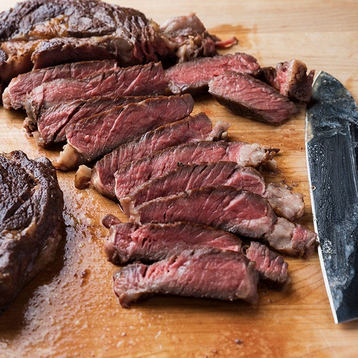 Want the best steak you've ever had? Try this rib eye, which cooks with aromatics for two hours in a sous-vide machine before getting quickly seared.