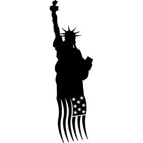 Freiheitsstatue New York - Die Weltbekannte Freiheitsstatue mit der Amerikanischen Fahne, einst als Geschenk von Frankreich zur Unabh�ngigkeit.