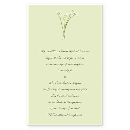 DIY Wedding Invitations Feature Gorgeous White Calla Lilies Are Gathered Together At The Top Of