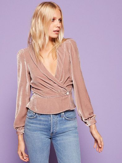 I'll go for one drink. This is a wrap front top with a shawl collar and full sleeves.