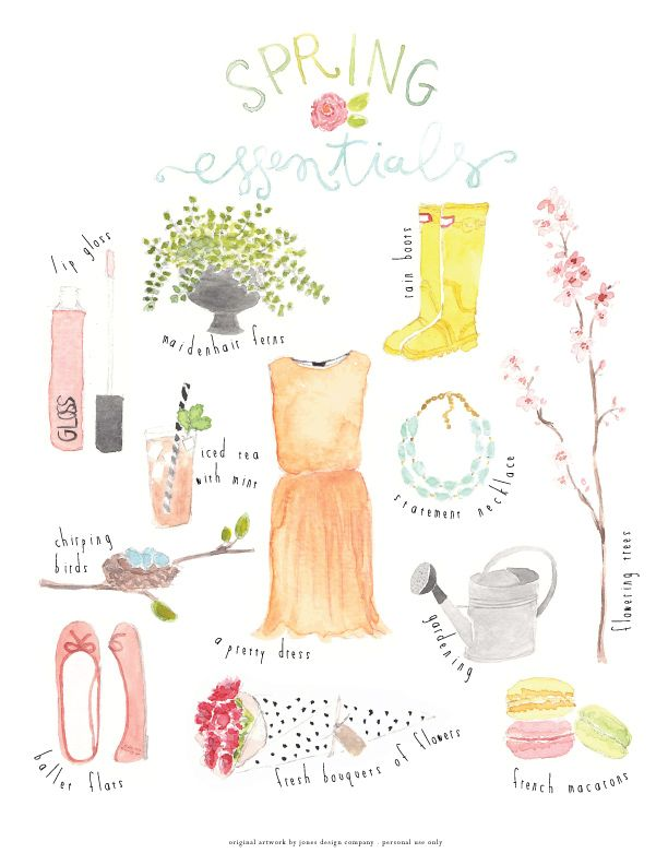 spring essentials (freebie art print) | jones design companyjones design company