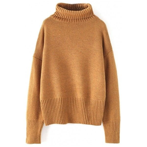 Plain Turtleneck Pullover Batwing Long Sleeve Sweater (£15) ❤ liked on Polyvore featuring tops, sweaters, beautifulhalo, long sleeve turtleneck top, turtleneck sweater, beige top, long sleeve tops and turtleneck top