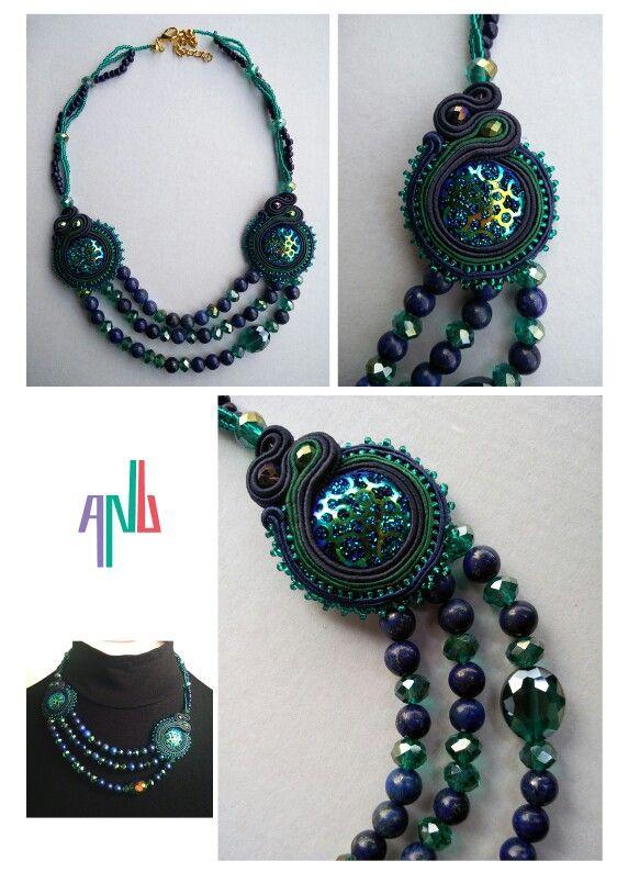 Handmade ANU Jewelry,  Soutache Necklace, lapis lazuli, Czech crystal, beads