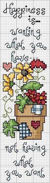 Cross stitch patterns of pots of flowers