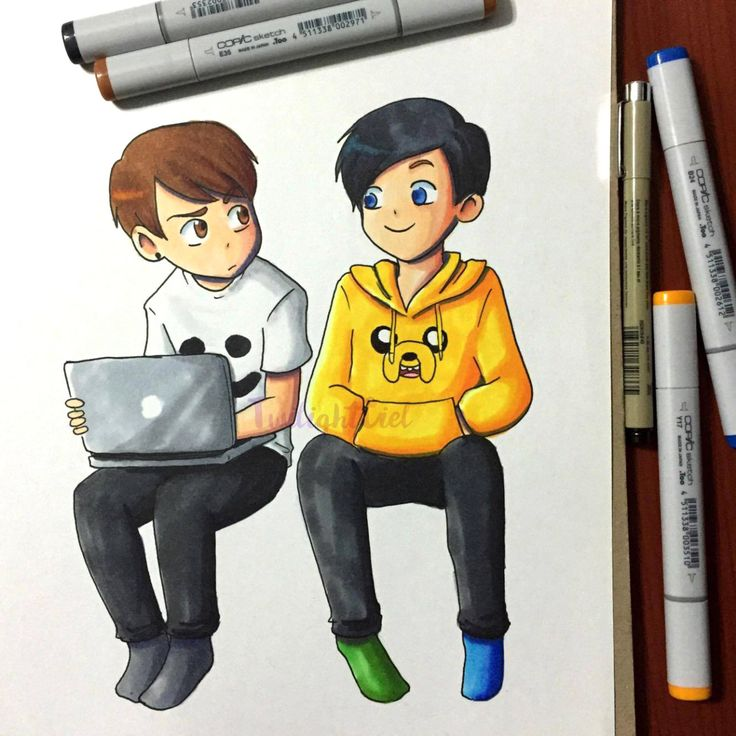 "twilightciel: ""I bought copic markers for the first time today! And I figured the best way to try them out was by coloring some D&P chibis. Btw, I have no idea what's happening in that drawing. """