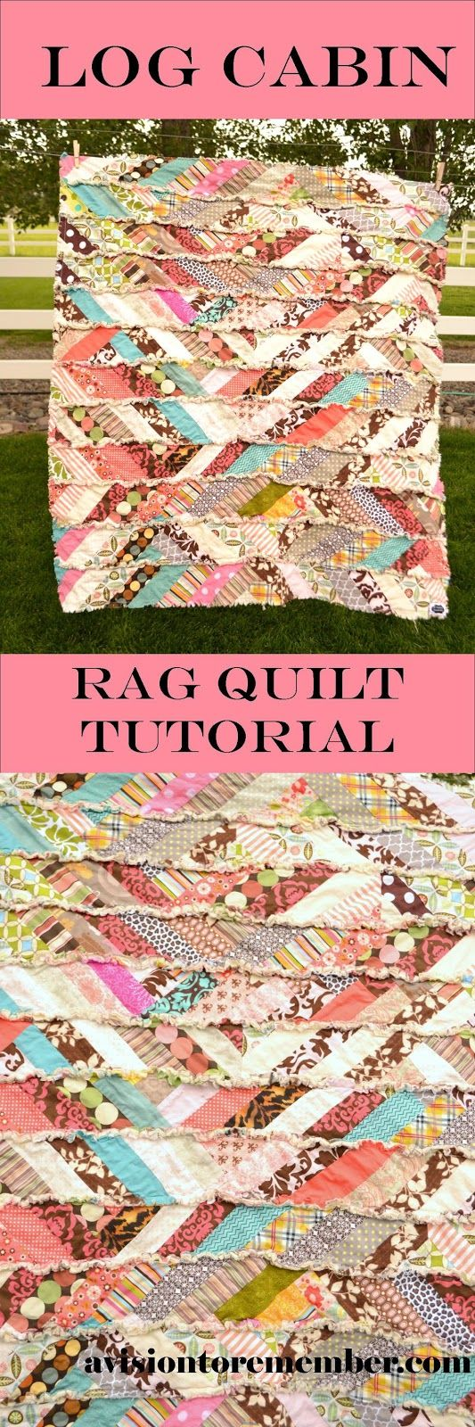 Its Fall-Y'All Scrappy Rag Quilt Tutorial.  Modified Log Cabin Quilt
