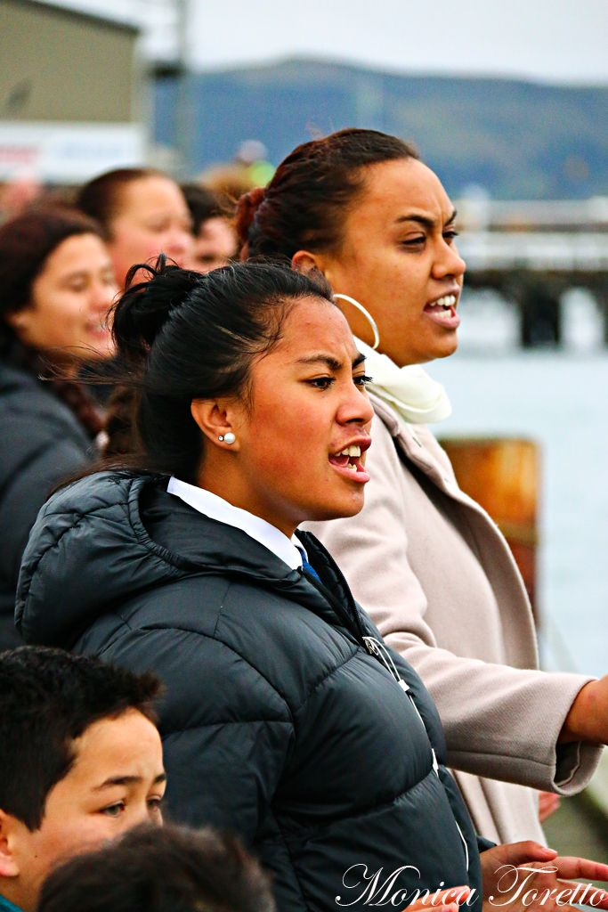 A powhiri as the Haunui Waka arrives in Bluff. April 2014.  See our website for the story.
