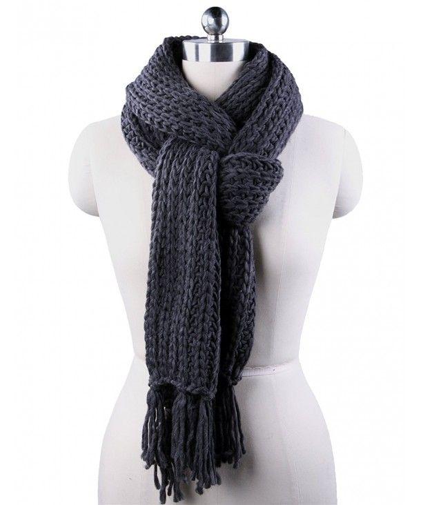 Winter Scarf Men Women Tassel Unisex Acrylic Knitted Warm Dark Grey  CO1855GWQ3N | Mens knitted scarf, Mens winter scarf, Winter scarf