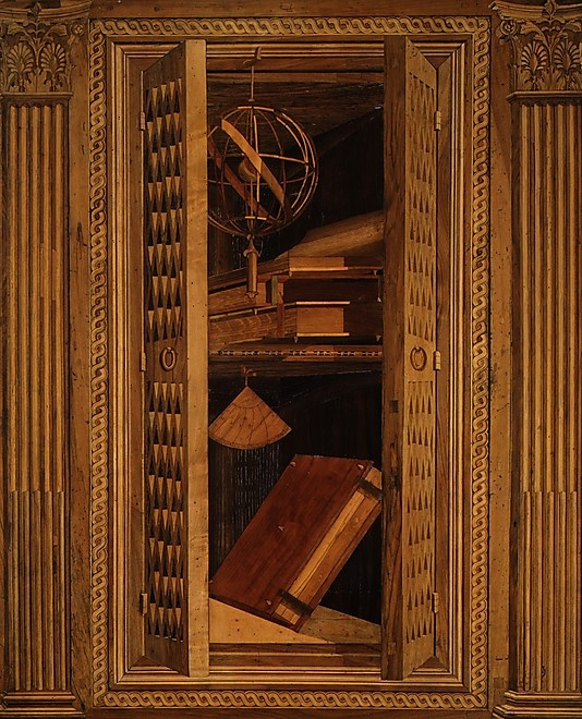 marquetry trompe l'oeil from ducal palace, gubbio, c. 1478-82 (met museum)